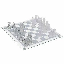 2 in 1 32 Piece Glass Chess & Draughts Set Pieces Fun Family Board Game Gift