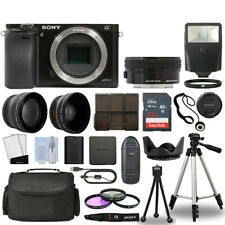 Sony Alpha a6000 Camera Body Black + 3 Lens Kit 16-50mm OSS+ 32GB + Flash & More