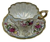 Antique Classica 22K Gold Hand Painted Tea Cup & Saucer Iridescent Finish Floral