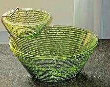 Vintage MCM Anchor Hocking Soreno Avocado Green Textured Glass Chip & Dip Set