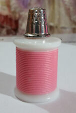 "VINTAGE AVON COLLECTABLE MILK GLASS ""SPOOL PINK THREAD WITH THIMBLE"" FULL"