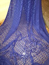 "1 MTR BLUE CORDED PAISLEY SLIGHT STRETCH LACE FABRIC...60"" WIDE"
