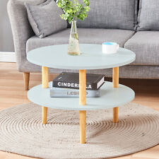 Round 2 Tier Coffee Table Side End Table w/ Storage Shelf Living Room Solid New