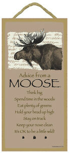 """ADVICE FROM A MOOSE Primitive Wood Hanging Sign 5"""" x 10"""""""