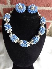 VTG ART DECO BLUE MILK GLASS FLORAL BEAD CLUSTER CHANNEL RHINESTONE NECKLACE SET