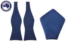 Men's Navy Blue White Polka Dot Self Tied Bowtie & Pocket Square Wedding Ties