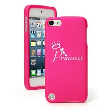 For iPod Touch 5th 6th Hot Pink Rubber Hard Case Cover Princess with Crown