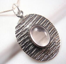 Rose Quartz Oval Etched Lines Necklace 925 Sterling Silver Corona Sun Jewelry