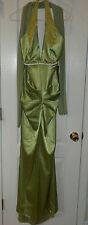 ONE DRESS  GREEN SATIN LONG HALTER FORMAL DRESS EVENING WEAR LADIES SIZE X LARGE