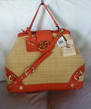 EMMA FOX Newport Frame Satchel Shoulder Bag in Natural/Tangerine-NWT-SRP:$298.00
