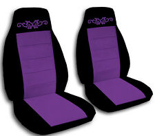 2 Black and Purple Butterfly Tattoo Car Seat Covers Universal Size
