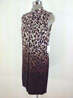 Calvin Klein NEW w Tag Leopard print multi Modern Dress size 2 6 16