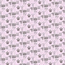 Printed Bow Fabric A4 Canvas Crown & Tiara Pattern on Pink CR2 Make glitter bows