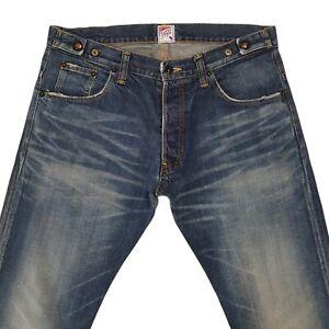 Prps Mens Jeans Blue W33 L30 Cotton Denim Distressed Slim Fit Button Fly