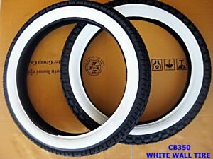 HONDA CB350 CB250 FRONT & REAR WHITE WALL TIRE SET DOT. STANDARD #BI319#