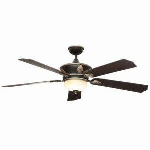 "Large 60"" Gold Emblem Ceiling Fan + Remote Old World Bronze Accent Light Fixture"