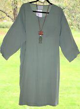 "MASAI Dress XL Long Tunic 46"" Bust DUSKY GREEN Quirky Zip Cuff BNWT"