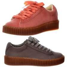 Damas Niñas Con Cordones Plataforma Plana Creeper Suede Shoes Trainers Rosa Gris Tamaño