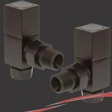 Negro Cubic Angulado válvulas de radiadores para Radiadores & Toallero (par)