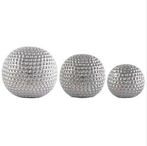 SET OF X3 SILVER CERAMIC DIMPLED SPHERES