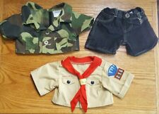 Build a Bear Workshop Bear Denim Shorts And 2 Tops, Camouflage & Animal Scout