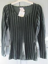 NEW Warehouse Vintage 90s Ladies Green Velvet Vertical Stripe Top UK 10