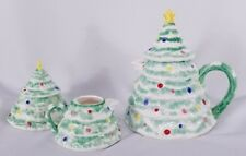 Christmas Tree Shaped Teapot, Creamer and Sugar Bowl by Sigma Tastesetter 1983