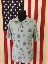 Caribbean Silk Blend Scallop Shell Hawaiian Polo Shirt men's XL blue camp 7952