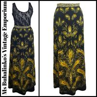 Size 8 Vintage Maxi Skirt 1970s Black & Yellow Feather Pattern A-Line Boho Folk