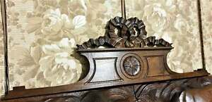 Bow ribbon rosette wood carving pediment Antique french architectural salvage