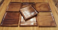 7 Vintage 10 inch Square Monkey Pod Plates Made in Thailand