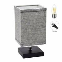 LED Fabric Bedside Table Nightstand  Lamp Square Minimalist Bedside Desk Light