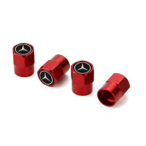 4x Red Car Wheel Air Tire Valve Stems Caps Dust Cover Logo For Mercedes-Benz