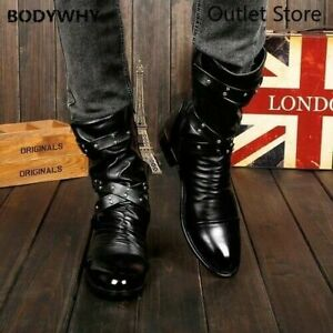 New Men's Boots Fashion Rivets Martin Boots Men's High-top Boots Casual Shoes
