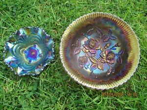 2x Carnival Glass bowls in Lavender and Purple by Imperial