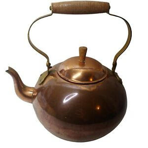 Vintage Copper Tea Kettle Wooden Handle Curvy Spout Made in Portugal