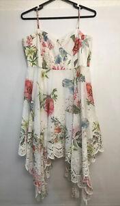 Forever New Floral Broderie Anglaise Dress Sz 14 Handkerchief Hem
