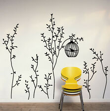 Large Slim Trees Birdcage Removable Wall Art Sticker Decals Home Decor PVC Mural