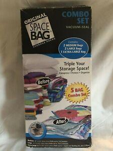 """VINTAGE ORIGINAL """" SPACE BAG"""" Storage Bags 2 Boxes 5 Bags"""