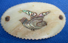 """Antique Primitive Pin Carved Shell Abalone BIRD Inset C Clasp Old Paper 2"""" AS IS"""