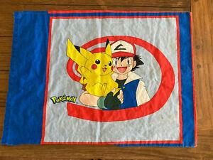 Vintage Pokemon Pillow Case 1998 Nintendo Pikachu Ash Double Sided Squirtle USA