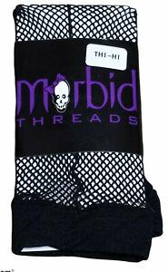 Vintage Morbid Threads Fishnet Thigh High Stockings Hot Topic Black One Size NWT