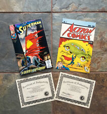 JERRY SIEGEL SIGNED ACTION #1 REPRINT-SUPERMAN 75 COMBO!! MATCHING NUMBERED SET!