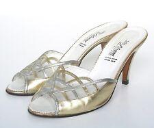 REGNO Unito 5 vintage oro/argento in pelle Scarpe Muli/- 1980s-BELLA Silvana - 38