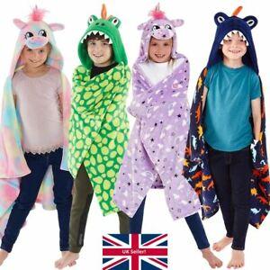 Kids Boys Girls Dinosaur Unicorn Snuggle Cuddle Blanket Novelty Hooded Fleece