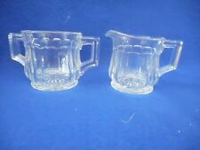 """Set of personal sugar and creamer . Glass,  2"""" high x 2"""""""