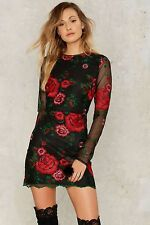 Nasty Gal collection Get Sprung Embroidered Mini Dress Size Small
