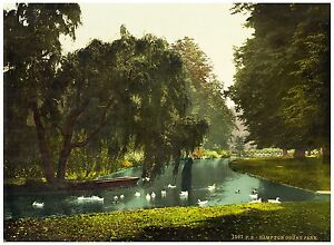 Hampton Court Park London Vintage photochrome print ca. 1890