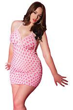 Sexy Pink Heart Print Plus Size Mini CHEMISE DRESS Babydoll Lingerie 3XL / 4XL