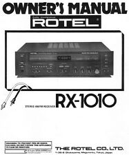 Rotel RX-1010 Receiver Owners Manual